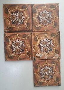 antique fireplace tiles handpainted x 5
