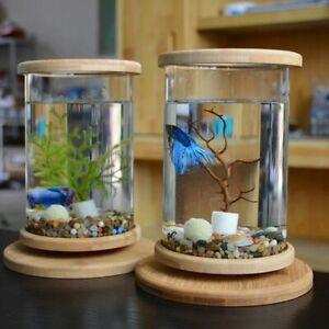 360° Rotate Mini Fish Tank 14.5x18cm Glass+Bamboo Base Aquarium Home Decoration