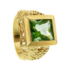 Gold Over Sterling Silver Simulated Peridot Solitaire Ring Size 7 #DDRS022