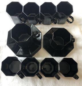 Vintage 1980 Arcoroc Octime Black Coffee Cup Mug & Saucer Set Esso Collection