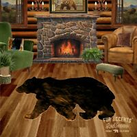 Bear Skin Rug - Shaggy Faux Fur - Walking Bear Shape Accent, Toss, Throw - Cabin