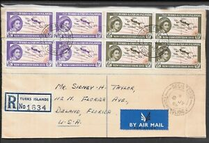 TURKS & CAICOS ISLANDS 1959 OPENED UP COVER TO USA