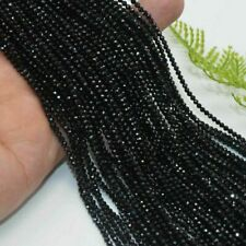 AAA+ 2mm Natural Stone Bright Quality Black Spinel Round Shape Faceted Beads 15""