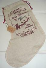 Natural Jute Hessian Santa Stocking/Sack with Festive Message-Hand Delivered