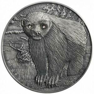2015 Niue $5 Brave Animals Honey Badger 2 oz .999 Silver Coin - Mintage 400