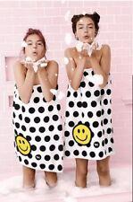 Victoria's Secret Pink Bath Towel Wrap Dot Smiley Black & White ~One Size