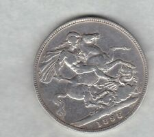 1898 LXII VICTORIA SILVER CROWN IN A USED FINE CONDITION