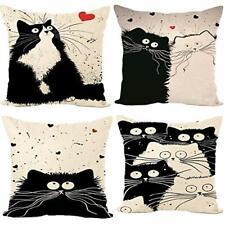 Freeas Set of 4 Cat Pillow Cases Throw Cushion Cover Cotton Linen Pillowcase ...