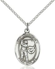 Sterling Silver Saint Christopher Golf Sports Athlete Medal, 3/4 Inch