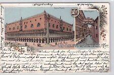 SELTEN Litho AK 1897@Gruss aus Venedig@Un Saluto Da Venezia@Ponte Sospiri