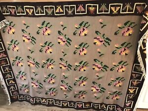 Vtg Room Size HANDMADE CENTRAL ASIAN TRIBAL FLATWEAVE WOOL KILIM RUG 7.5 x 10 Ft