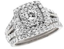 14K White Gold Halo Cushion Cluster Genuine Diamond Engagement Ring Set 1.90ct