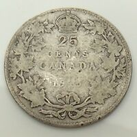 1915 Canada 25 Twenty Five Cents Quarter Silver Canadian Circulated Coin F625
