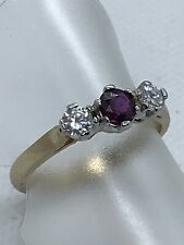 9ct Yellow & White Gold Ruby & Cubic Zirconia 3 Stone Ring