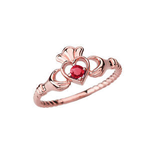 Solid 10k  14k Rose Gold Genuine Ruby Solitire  Heart ♡ Rope Claddagh  Ring