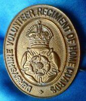 VINTAGE Derbyshire Volunteer Regiment of Home Guard Cap Badge BRASS Original