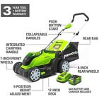 GreenWorks 40-Volt 17-Inch Cordless Brushed Lawn Mower battery operated