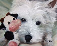 Mary SPARROW Westie West Highland White Terrier Dog Art Oil Painting PRINT