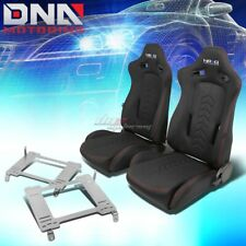 NRG BLACK RECLINABLE RACING SEATS+FULL STAINLESS BRACKET FOR 05+ GT500 MUSTANG