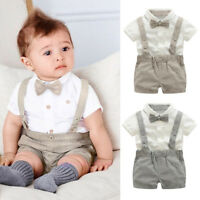 2PCS Newborn Baby Boys Outfits Clothes Short Sleeve Shirt Tops+Suspenders Shorts