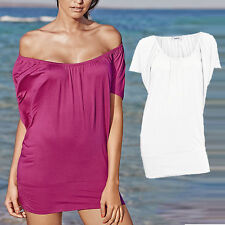 WEIß Carmen Sommer TOP Longtop Tunika Shirttop Strand Shirt Gr.36/38 Stretch