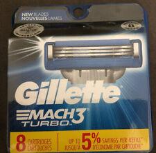 Gillette Mach 3 Turbo Razor Blades/ Cartridges 8-Pack New