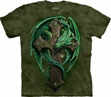 Dragon Woodland Guardian Cross Winged Beast Creature Green Mountain T-Shirt L