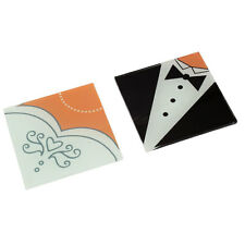 1 Bride Gown 1 Groom Tux SET wedding favour bomboniere glass square 10cm coaster
