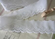 14Yards  Embroidered Scalloped Cotton Fabric Eyelet Lace Trim  6cm wide - White