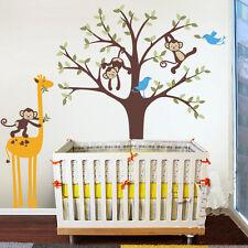 Height 150CM Giraffe Monkeys Birds Tree Vinyl Wall Paper Decal Art Sticker X425
