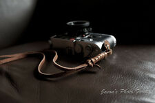 Handmade Genuine Real Leather wrist camera strap for film&EVIL camera Brown