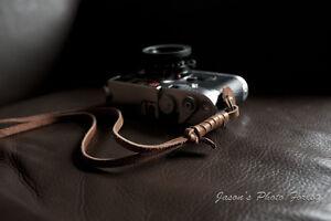 Handmade Genuine Real Leather wrist camera strap for film&EVIL camera Brown