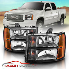 2007-2013 Gmc Sierra 1500 2500 3500 Black Headlights Left+Right Factory Style (Fits: Gmc)