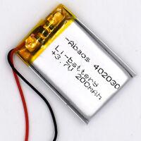 3.7 V 200mAh 402030 Li-Polymer Rechargeable Battery Liion LiPo Cell for GPS MP3