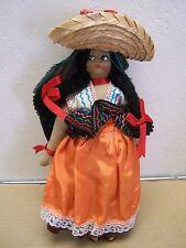 1950s VINTAGE Handmade Mexican Doll Woman in Sombrero - Mexico