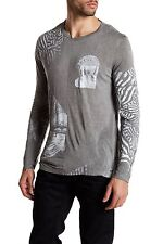 NWT Diesel T-Joe PRINTED Mens Long Rayon Sleeves T-Shirt POLO Shirt M MEDIUM $98