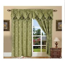 Set of 2 Penelopie Jacquard Look Curtain Panels with Attached Austrian Valance