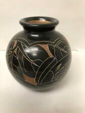 Vintage Round Etch Jar Dark Brown Decorative Flower 4 X 5