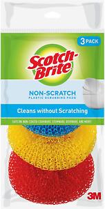 3 x Scotch-Brite Non-Scratch Plastic Scrubbing Pads 9 Pad Assort colors cleaning