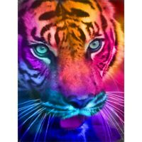 5D Full Drill Diamond Painting Colorful Tiger Cross Stitch Kits Arts Decor Gifts