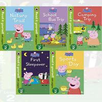 Peppa Pig Level 2 Collection 5 Books Set School Bus Trip ,First Sleepover ,New
