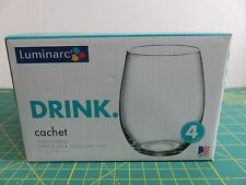Luminarc Cachet 15 oz Wine Tumblers Set of 4 Stemless NIB