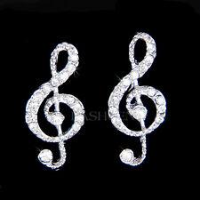 w Swarovski Crystal ~TREBLE G CLEF~ Musical Jewelry music note Stud Earrings New