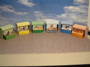 """6 Market Stalls Self Assembly Card Kit,      """"00"""" GAUGE     Add to your Layout.."""