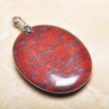 "Extremely Red Natural Bloodstone 925 Sterling Silver Clasp 2"" Pendant #P15212"