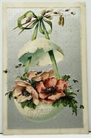 Easter Greetings Hanging Egg of Flowers Embossed Postcard I4