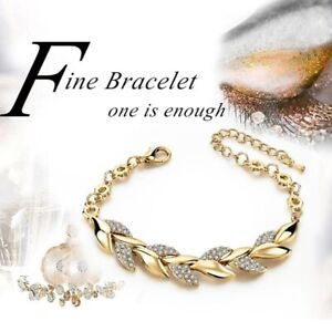 Gorgeous Women White Sapphire Gold Adjustable Bracelet Bangle Cuff Jewelry Gift