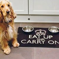 Pet Rebellion Dog Food Mat - Eat Up And Carry On - Black