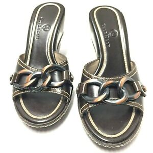 Cole Haan Kina Dark Chocolate Striped Leather Chain Wedge Heel Pump Size 5.5 B