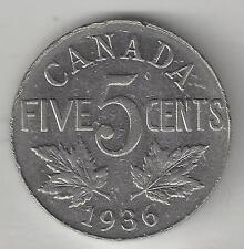CANADA,  1936,  5 CENTS,  NICKEL,  KM#29,  EXTRA FINE